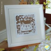 wedding, anniversary, camper van,contemporary framed paper cut artwork, couple, your story