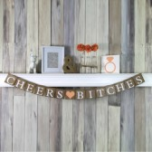 Cheers Bitches Peach Bachelorette Wedding Banner