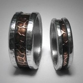 Rustic artisan wedding band set - Custom mixed metal copper and silver industrial wedding bands