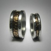 Rustic Brass & Silver Wedding Band set