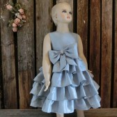 Silver grey flower girl dress,grey ruffle dress,silver grey wedding,