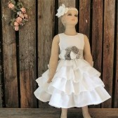 Boho flower girl dress,off white dress,bohemian wedding,linen dress,vintage style