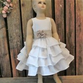 Flower girl dress,linen dress,country wedding,vintage style,country chic,linen dress,ruffle dress