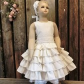 Ivory ruffle flower girl dress,organic cotton,ivory lace dress,ruffle flower girl dress,country chic wedding