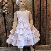 White linen dress,flower girl dress,lace,linen,white,