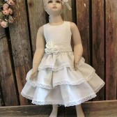 Flower girl dress,natural linen,ivory,ruffle dress
