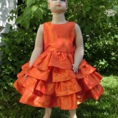 Orange flower girl dress,modern wedding,ruffle flower girl dress,fall wedding,autumn flower girl dress