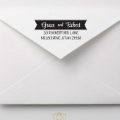 Ribbon Banner Wedding Custom Address Stamp – CL001