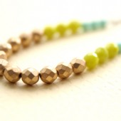 Long Beaded Colorblocked Necklace // Green Turquoise Metallic Gold Bead Necklace // Bridesmaid Gifts