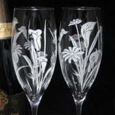Calla Lily and Daisy Champagne Flutes