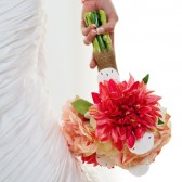 Cassandra - Dahlia, rose and hydrangea bouquet with sand dollar accents