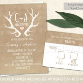 "Rustic deer antler wedding invitation printable invitation and rsvp on kraft paper. Fun and romantic wedding invitations. Life is short- let\'s just do this thing! Featuring deer antler in hand painted watercolors and the text ""the buck stops here\"" with your initials this wedding set is not for the faint of heart or etiquette conscious. Fun and a bit irreverent, this rustic wedding invite is sure to bring a smile to faces of your guests and a feature on their calendar."