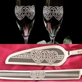 Celtic Knot Set of flutes, cake server and knife