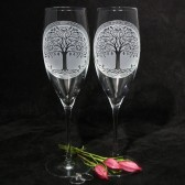 Celtic Tree of Life Champagne Flutes