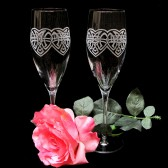 Celtic Knot Champagne Flutes, Interwined Hearts