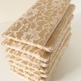 Ivory Lace and Champagne Gold Satin Amelia Clutch