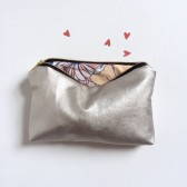 Champagne Leather Custom Makeup Clutch Bag