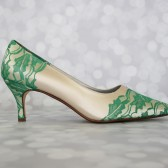 Champagne Custom Wedding Shoes with Emerald Green Heel Cup and Toe Cap