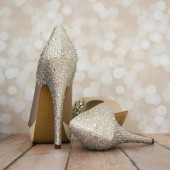 Champagne Platform Peep Toe Custom Wedding Shoes with Rhinestone Heel and Heel Cup and