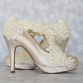 Ivory Platform Wedding Shoes with Lace Overlay and Sash to Tie