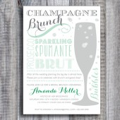 Printed / Champagne Brunch Bridal Shower Invitations / Personalized / Custom Color