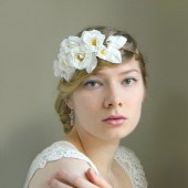 Chantal White Rose Headpiece