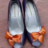 Charcoal Peep Toe Wedding Wedges with Orange Off Center Bow on the Toe