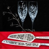 Cherry Blossom Double Happiness champagne flute cake server set