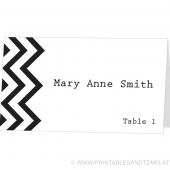 Place Card Template - Chevron Design