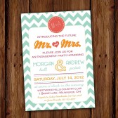 Chevron Stripe Bridal or Couples Shower Invitation