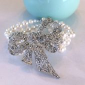 Clara Bow Pearl and Rhinestone Bridal Bracelet