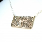 XO Cloister Initials Letterpress Necklace