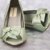 Clover Wedding Wedges with Matching Off Center Bow on the Toe and Rhinestone Buttons on the Back