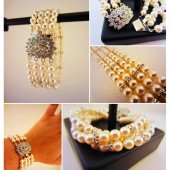 Four-strand pearl bracelet with rhinestone spacers and Swarovski crystal clasp. Ivory pearls, for a vintage-minded bride