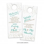 Customizable Wedding Hotel Door Hangers - Fun, Modern, Glitzy Polka Dots Small Confetti - Bridal Door Hanger for Guests or Welcome Bags