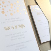 Gold Confetti Embossed Invitation Set