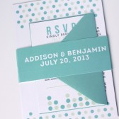 Modern polka dot confetti wedding invitation