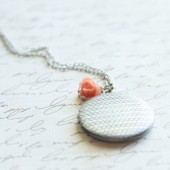Coral Chevron Locket - Bridesmaid Locket - Pick from 20 Rose Colors - Flowergirl Lockets