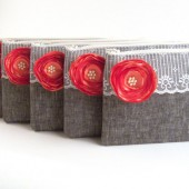 5 Grey Clutches with Coral Flower Brooch