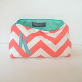 Coral & Aqua Mint Personalized Cosmetic Bag, Chevron, Bridesmaid Wedding Party Favor, Teacher Gift