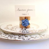 Cornflower Blue Place Card Holders tied with Lace