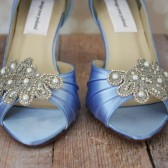 Cornflower Kitten Heel Peep Toe Wedding Shoes with Silver Rhinestone and Pearl Applique on the Toe