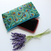 Cosmetic Pouch in Green Peacock Feathers