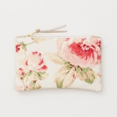 Floral Fabric and Taupe Leather Zipper Clutch