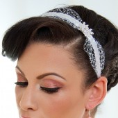 Crystal - Sweet birdcage veil accented headband with rhinestones