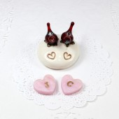 Custom Love birds cake topper with bird eggs or candy heart initials