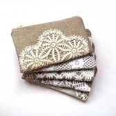 Set of Vintage Doily Linen Burlap Clutches