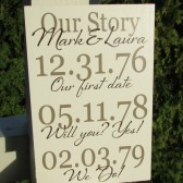 Date sign - our story - personalized with names and important dates - custom wood sign in colors of your choice