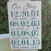 Our Story family custom date sign personalized with important dates - personalized - custom wood sign in colors of your choice