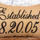 Burlap established date pillow cover - personalized - customized special day - Pillow Insert Sold Separately